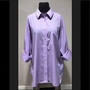 FoxCroft plus Sz 18 purple button down blouse